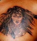 Amazing Native American Indian Women Tattoo on Men Chest