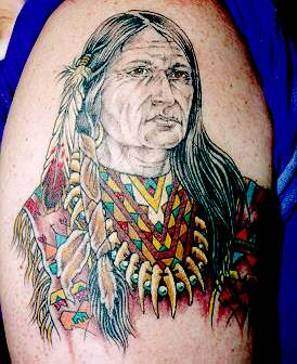 Colorful Native American Indian Arm Tattoo