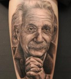 Popular Albert Einstein Tattoo Theme on Men Sleeve
