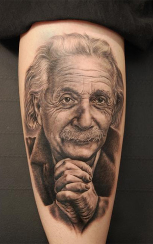 Popular Albert Einstein Tattoo Theme on Men Sleeve