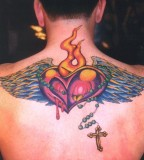 Graceful Back Heart Tattoo for Men