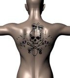 Skull And Crown Tattoo Back Tattoo