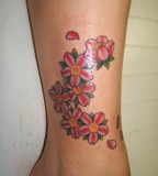 Cherry Blossoms Tattoos Design on Leg for Women