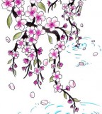 Japanese Cherry Blossoms Tattoo Sketch