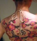 Cherry Blossom Tattoo Design on Back for Women