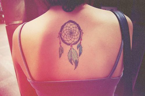 Beautiful Dream Catcher Tattoo Design on Back for Girls