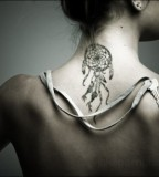 Dream Catcher Girls Tattoo Design on Neck