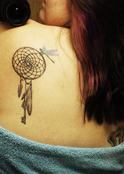 The Dream Catcher Girls Tattoo Design on Back