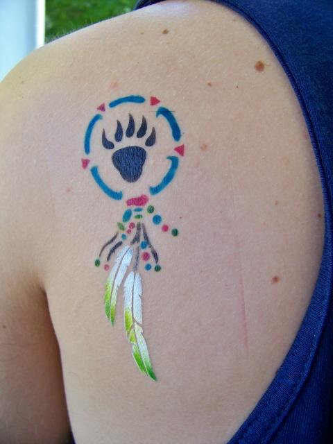 Colorful Bear Claw Dream Catcher Airbrush Tattoo