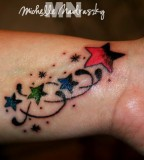 Nautical Shooting Stars Tattoo Design on Wrist