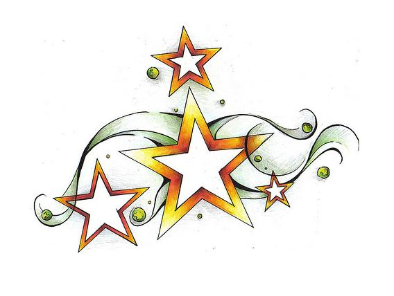 Cheerful Shooting Star Shaped Tattoo Design Sketch
