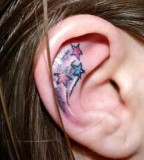Shooting Star Shaped Girls Tattoo Design on Ear