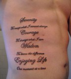 Serenity Prayer Tattoos On The Ribs