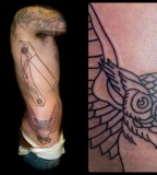 Razor And Owl Ribs Tattoo