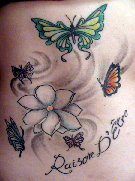 Lovely Flower and Butterfly Tattoo Design for Women