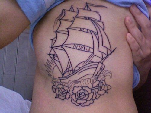 Roses and Pirate Ship Side-Rib Tattoo Design for Women