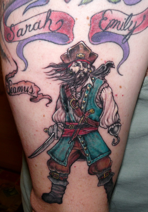 Family Pirate Tattoo Design on Upper-Arm Tattoo Picture