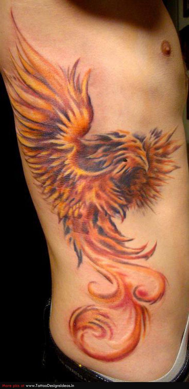 Tattoo Design of Red Fiery Phoenix Tattoos for Men's Rib