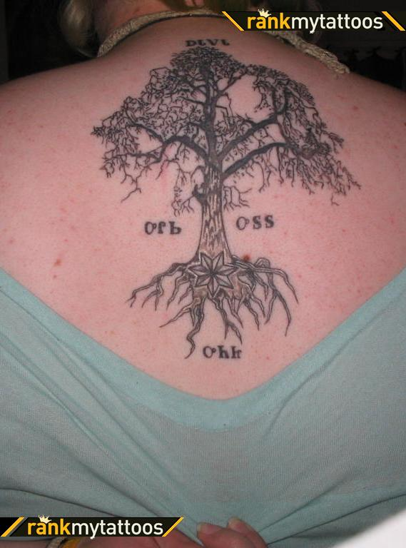 Tree With Star And Letters Native American Upper-back Tattoo