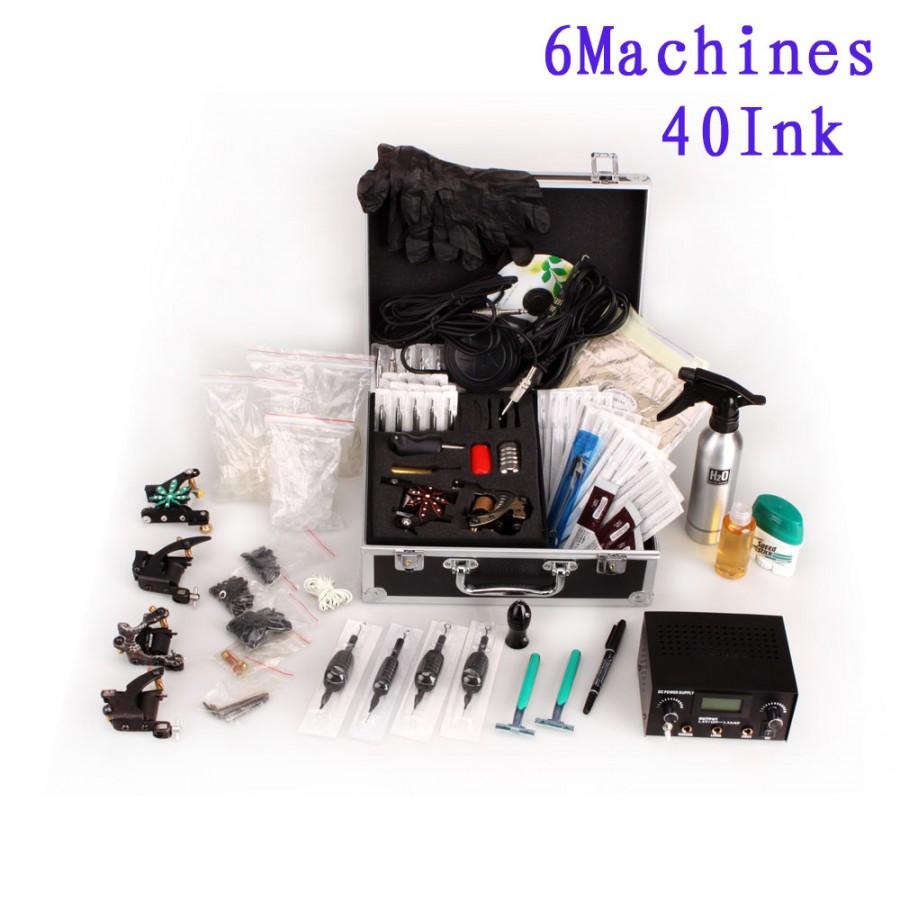 6 Guns Tattoo Machine Kit Lcd Power Supply 40 Ink Needle
