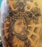 Bible, Cross, and Jesus Tattoo