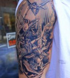 Arm Sleeve Bible Scene Tattoo