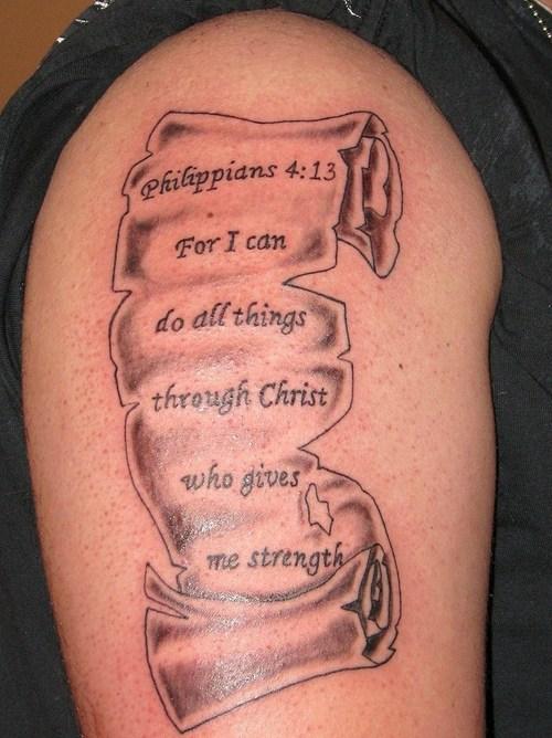 Cool Sleeve Bible Verse Tattoo Design