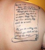 Scroll Of Bible Verse Tattoo Design on Back