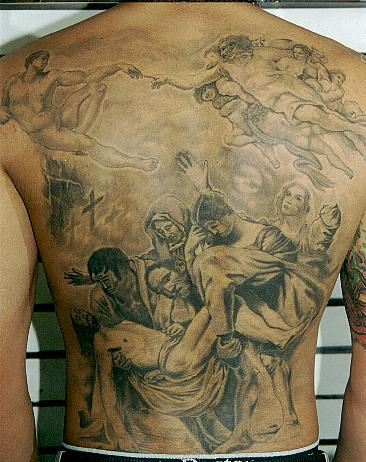 Full Back Christian Theme Picture Tattoo
