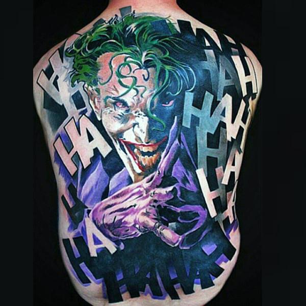the joker full back tattoos for men