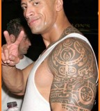 Awesome Dwayne Johnson Tribal Tattoos Design
