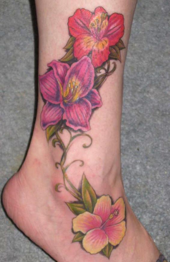 Tiger Lilly Leg Tattoo