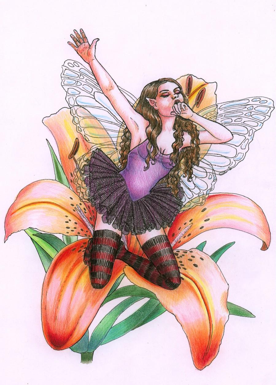 Tigerlily Fairy Tattoo Design Sample