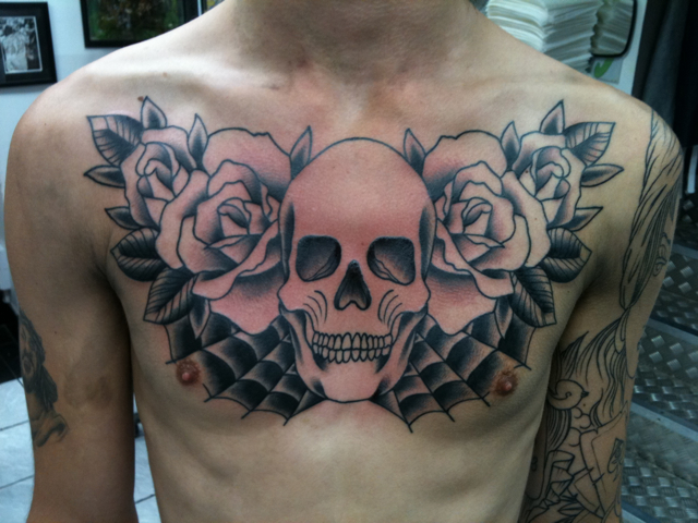 Skull and Rose Tlc Tattoo School Pic