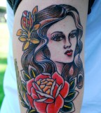 Girl and Rose Shaped Tlc Tattoo School