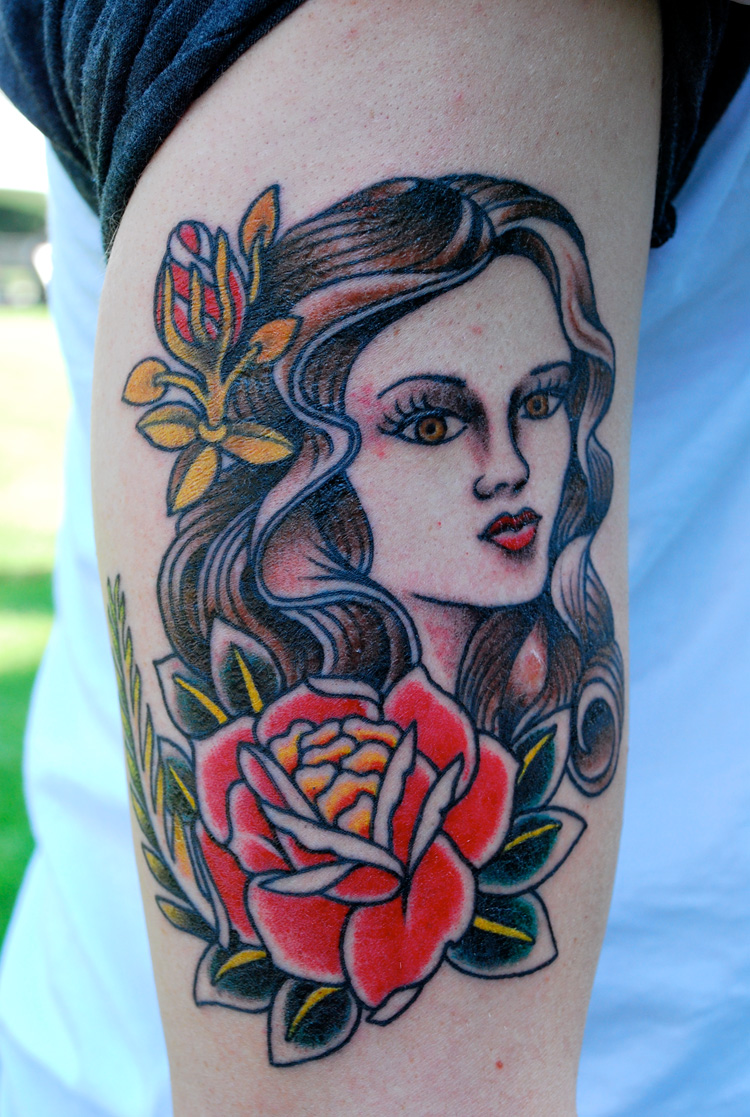 Girl and Rose Shaped Tlc Tattoo School