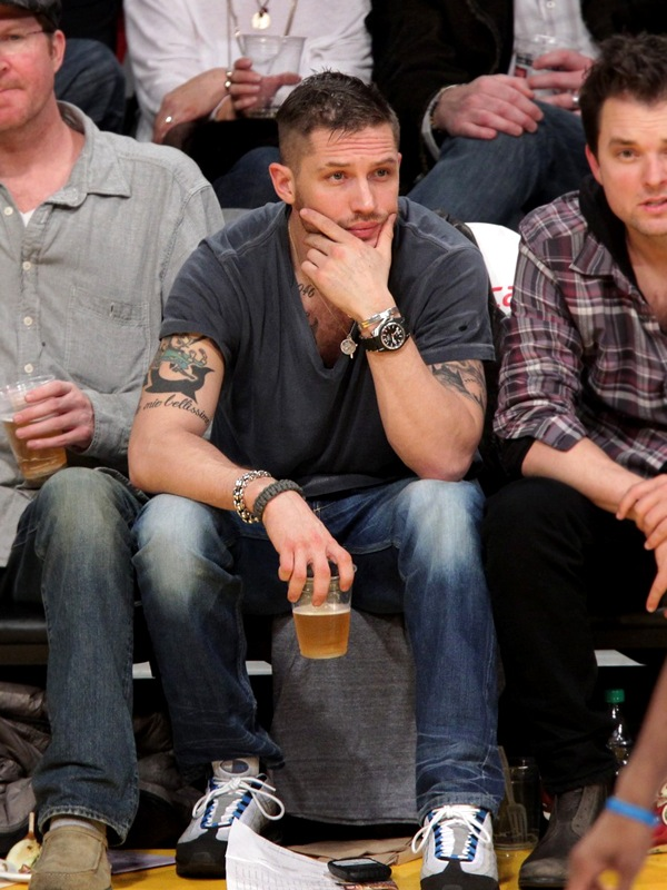 Tom Hardy with his Grand Tattoos at Los Angeles Lakers Game