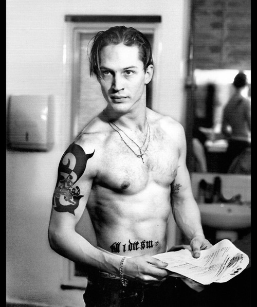 Tom Hardy Black and White Photo with His Grand Tattoos