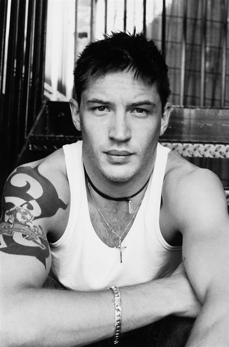 Tom Hardy Right Arm Tattoo Black and White Wallpaper