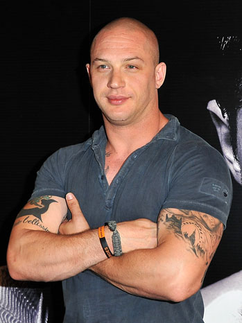 Tom Hardys Tattoos at at the  Warrior Paris Photocall