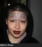 Fan's Drake Forehead Tattoo