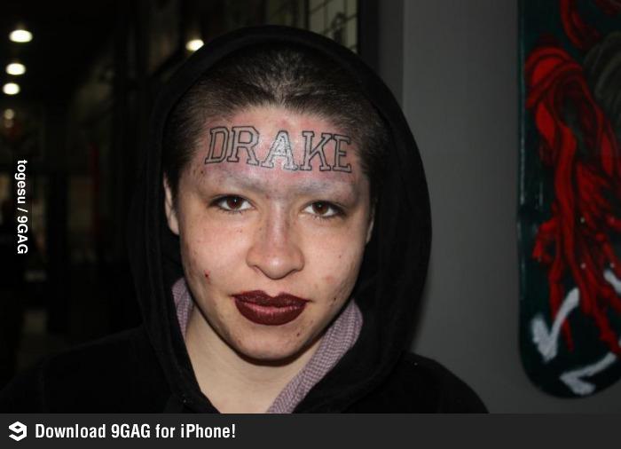 Fan's Drake Forehead Tattoo