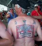 Budweiser Brand Inspired Tattoo on Men Back