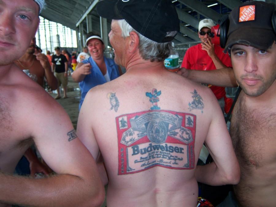 Budweiser Brand Inspired Tattoo on Men Back