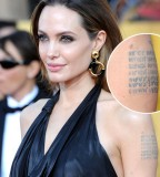 Angelina Jolie's Map Coordinates Left Arm Tattoo