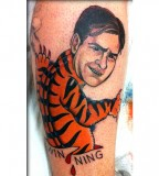Bold Yet Funny Charlie Sheen Tiger and Winning Quote Inspired Tattoo