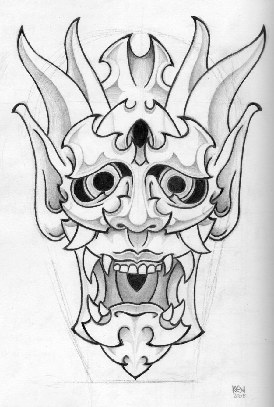 Japanese Mask Tattoo Design Pictures Art