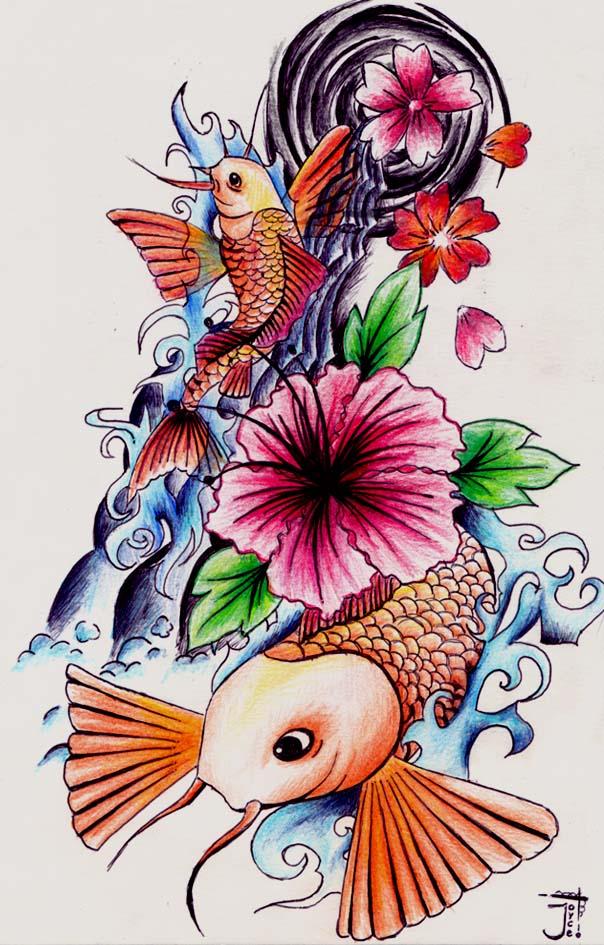 Unique Japanese Tattoo Koi Design