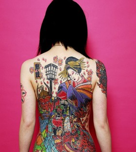 Full Body Colorful Geisha Tattoo Ideas