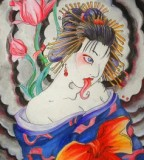Traditional Japanese Hannya Mask Geisha Tattoo Designs